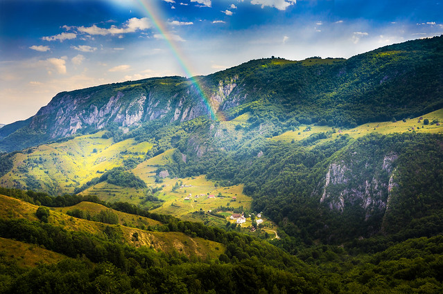 mountain, landscape, rainbow