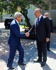 U.S. Secretary of State John Kerry meets with Turkish Foreign Minister Mevlut Cavusoglu in Ankara, Turkey on September 12, 2014. [State Department photo/ Public Domain]
