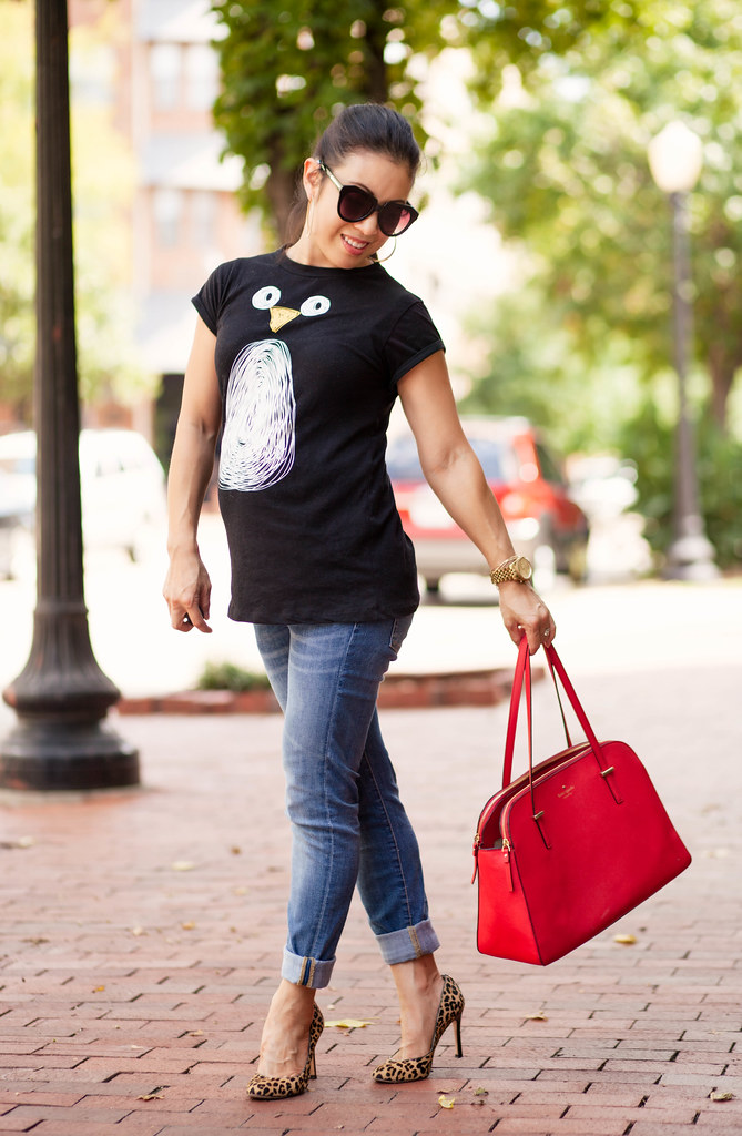 cute & little blog | petite fashion blog | maternity pregnant bump style | penguin graphic tee, rolled jeans, leopard pumps, kate spade red bag | 20 weeks