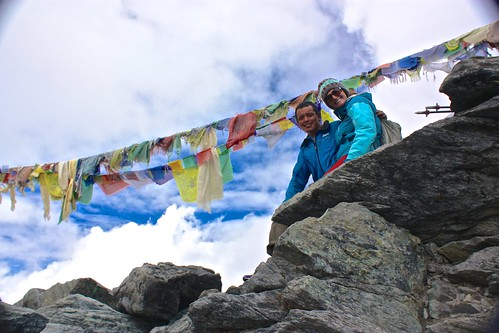 Lina and our Sherpa Guide/Porter on top of Kongma La Pass