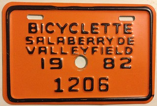 SALABERRY DE VALLEYFIELD, QUEBEC 1982---BICYCLE PLATE