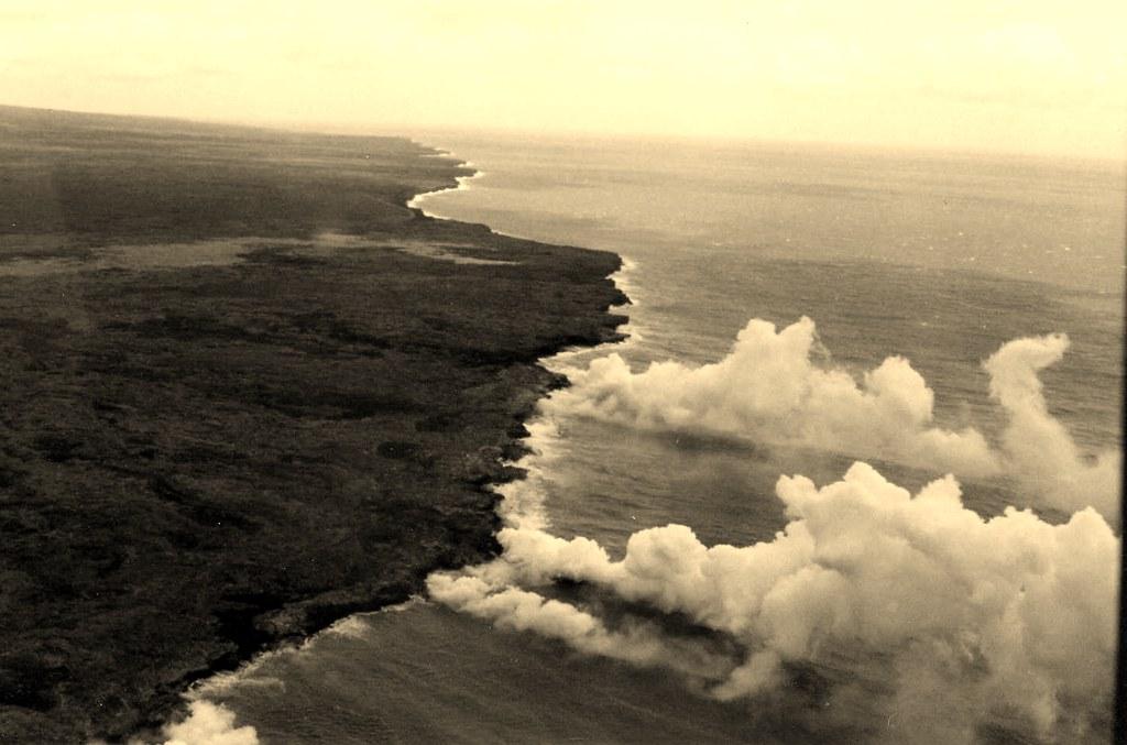 Lava reaching the ocean