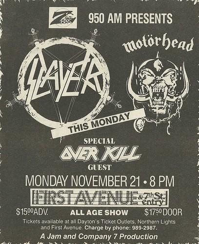11/21/88 Slayer/ Motorhead/ Overkill @ First Avenue, Minneapolis, MN (Ad 2)