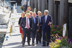 U.S. Secretary of State John Kerry walks with his counterparts down a dock as he hosts the Foreign Ministers from the United Kingdom, France, Germany, Italy, and the European Union for a cruise around Boston Harbor in Boston, Massachusetts, on September 24, 2016, amid a daylong series of meetings of the so-called Quintet in the Secretary's home-state of Massachusetts. [State Department photo/ Public Domain]