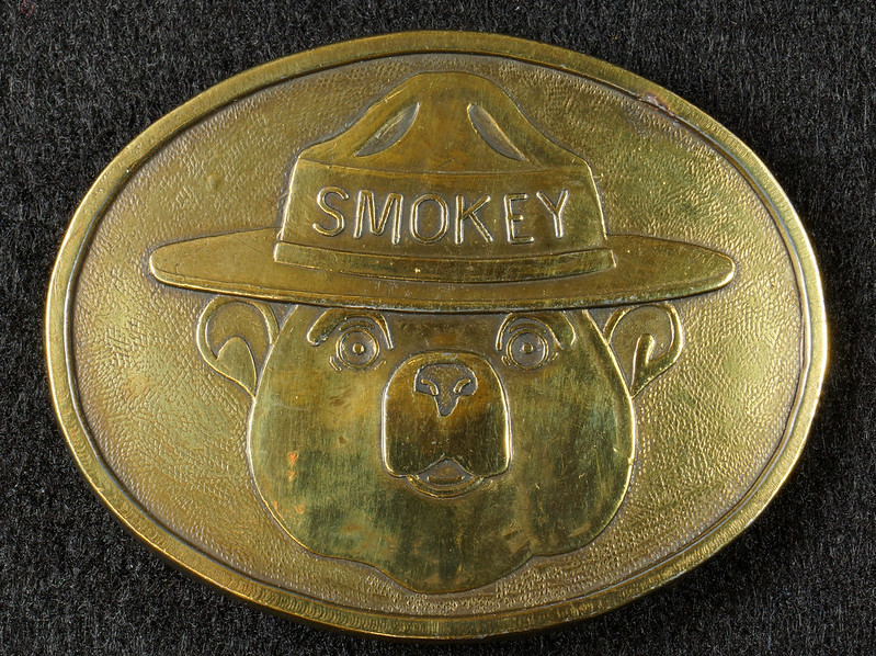 RD15103 Vintage Smokey The Bear Brass Belt Buckle Park Ranger Fire Safety DSC07205