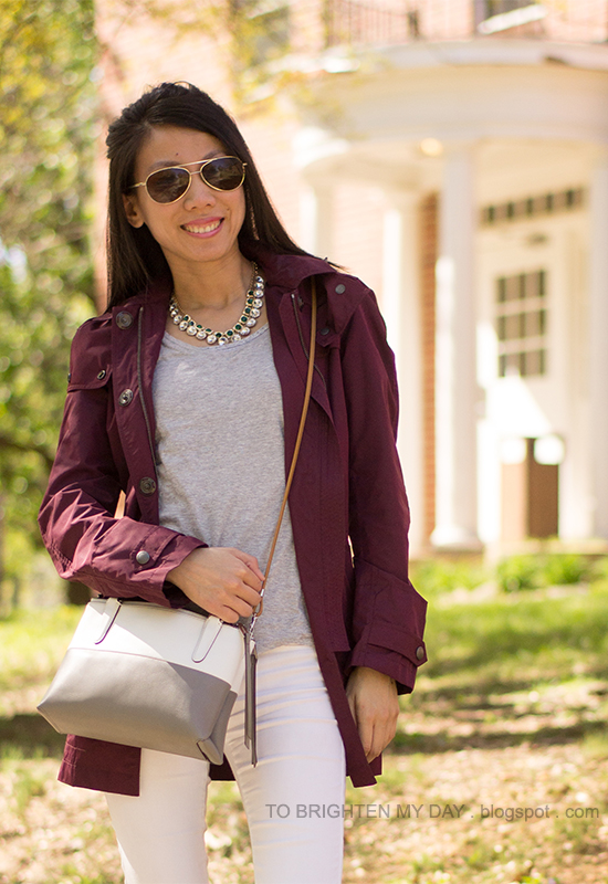 red jacket, gray tee, jeweled necklaces, white jeans