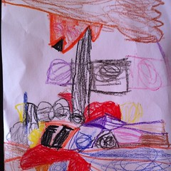 A #house with a brown #roof. #teagan #kindyart #imagination
