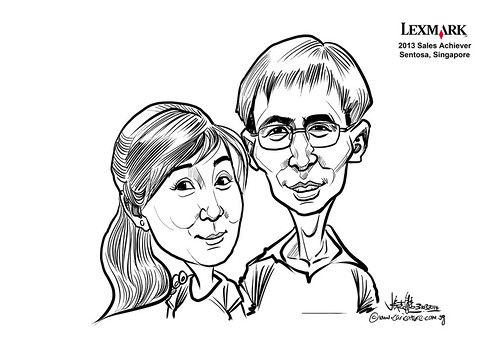 digital couple caricatures for Lexmark - Xu Ming Yan