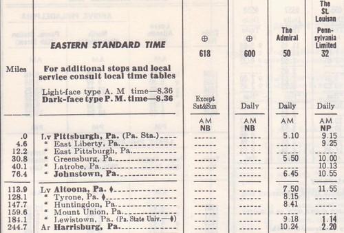 PRR 1965 Pittsburgh Schedule 2