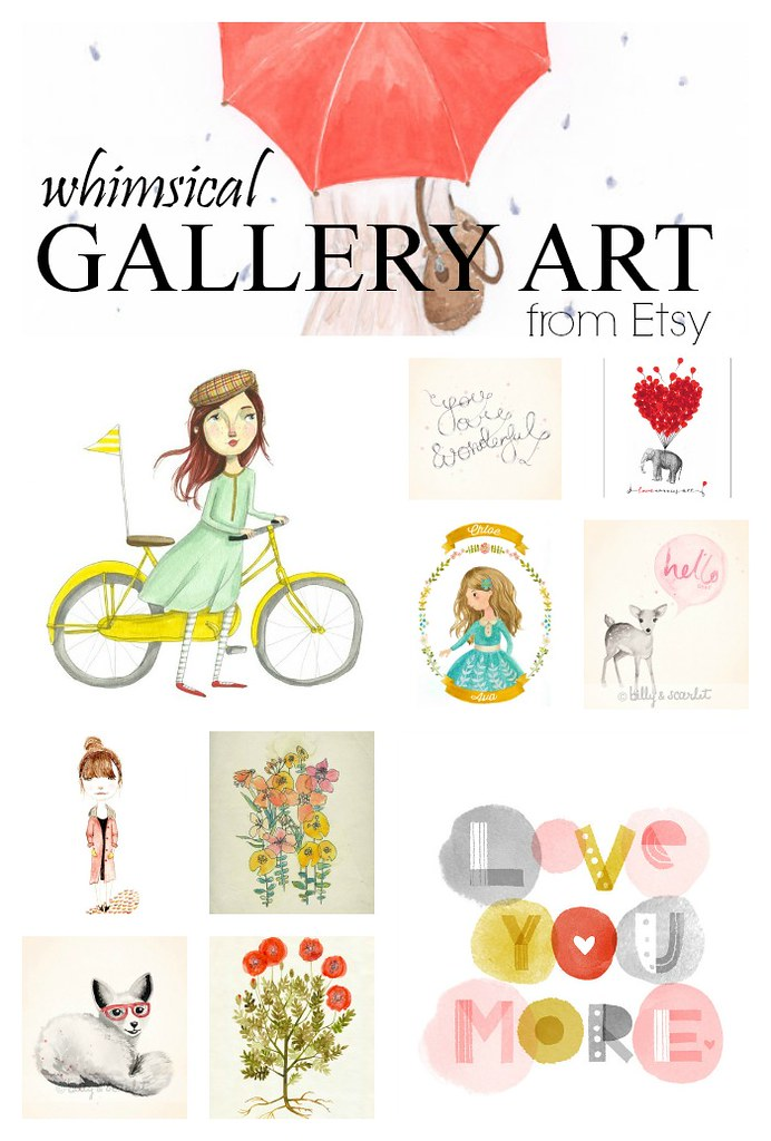 whimsical gallery art from Etsy
