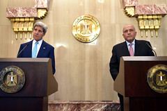 U.S. Secretary of State John Kerry and Egyptian Foreign Minister Sameh Shoukry addresses reporters at the Presidential Palace in Cairo, Egypt, on July 22, 2014, amid a series of discussions focused on creating a ceasefire for fighting between Israel and Hamas in the Gaza Strip. [State Department photo/ Public Domain]