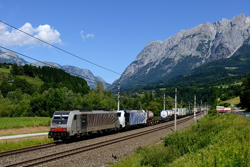 186 185 rtc bombardier traxx tennengebirge lokomotion bischofshofen klv kombinierterladungsverkehr 185661 186285 giselabahn tec41855 ellmauthal