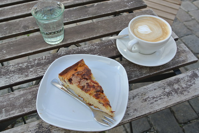 Apple cake and cappuccino