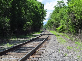 The real train tracks we had to cross on the Genesee Valley Greenway just north of Mount Morris, New York