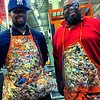 The paint guys at Home Depot compete for coolest sample dab art apron.