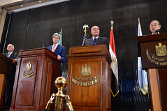 U.S. Secretary of State John Kerry stands with Arab League Secretary-General Nabil al-Araby, left, Egyptian Foreign Minister Sameh Shoukry, second from right, and United Nations Secretary-General Ban Ki-moon at a news conference in Cairo, Egypt, on July 25, 2014, to discuss efforts to reach a cease-fire in fighting between Israel and Hamas in the Gaza Strip. [State Department photo/ Public Domain]