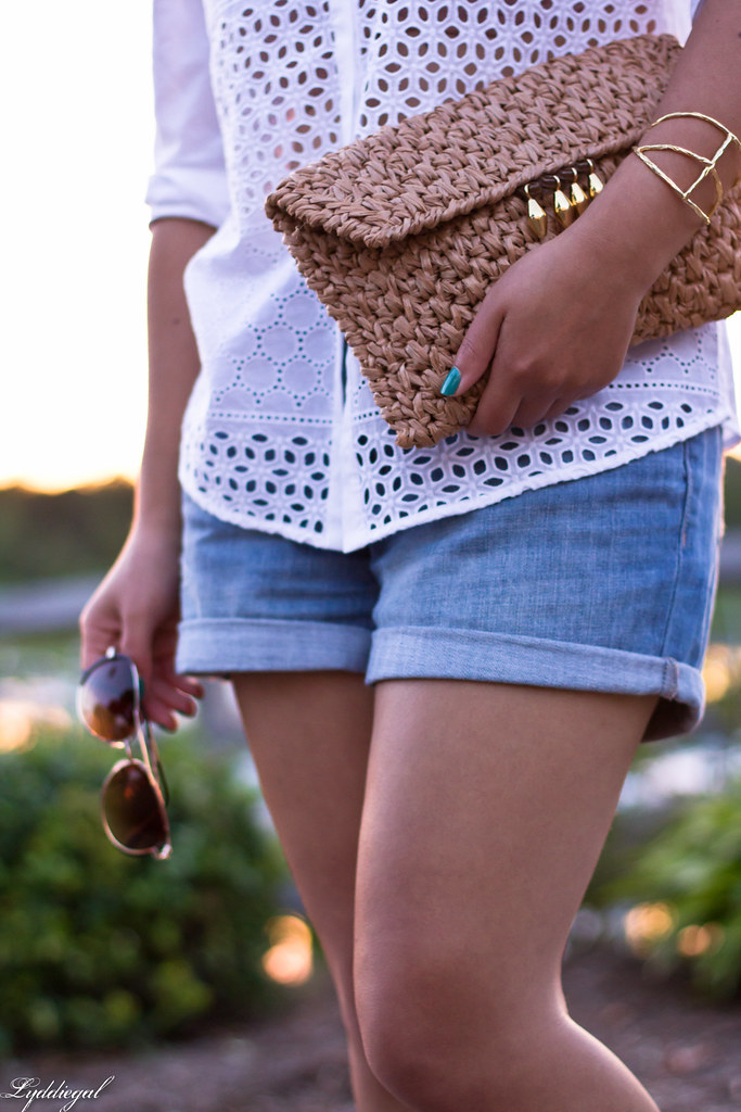 white eyelet buttondown, denim shorts 5