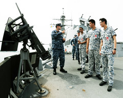 Republic of Singapore Navy sailors tour the guided-missile destroyer USS Wayne E. Meyer (DDG 108) during CARAT. (U.S. Navy/MC2 Christian S. Eskelund)
