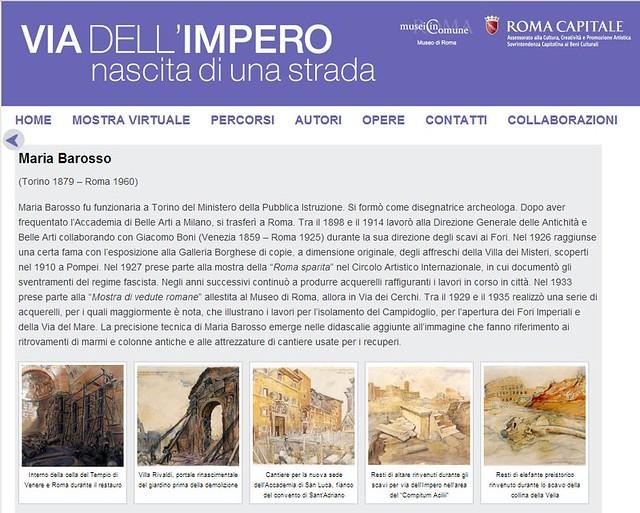 ROMA ARCHEOLOGIA e  RESTAURO ARCHITETTURA: Maria Barosso, disegnatrice archeologa, collaborando Giacomo Boni (1898-1914), in: 'VIA DELL' IMPERO - nascita di una strada (1929-35),' Roma Capitale | musei in Comune (2014).