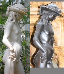 Donatello (c.1386-1466) - David (date disputed) - comparison between marble replica in Temperate House, Royal Botanic Gardens, Kew, Surrey, and plaster cast in Victoria & Albert Museum, London right, upper