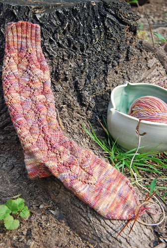 Handknit sock in Hummingbird pattern by Sandi Rosner and Araucania Ranco yarn