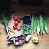 A mixture of CSA goods and farmers market haul from today. Heirloom tomatoes, heirloom carrots, sweet corn, green and purple beans, red creamers, winter squashes. #dinnermakings #fledgingcrow #csa