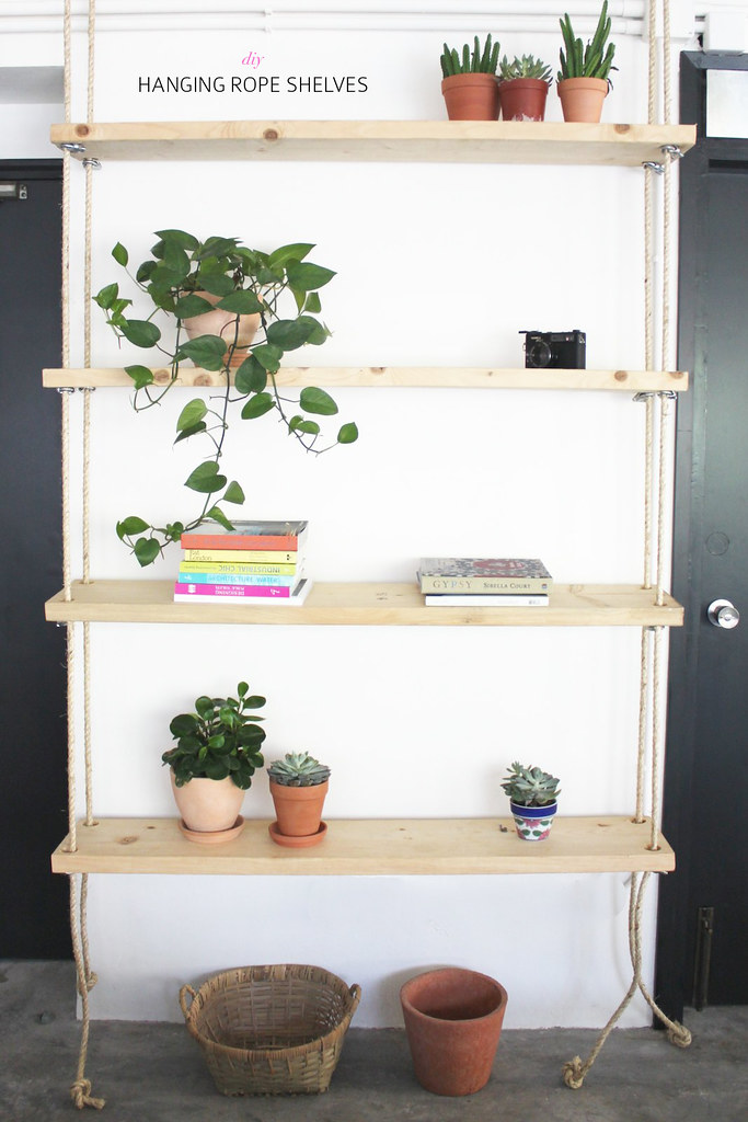 Diy hanging rope shelves a pair a spare for Diy cassette shelf