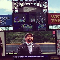 "My favorite player, #17 had his never retired today. Cool we were here to see it. ""I am proud to say I'm a Colorado Rockie for life."" Todd Helton #17"