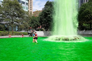 Eagles Green Water Fountain in Love Park