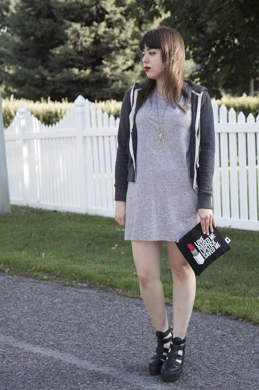 h&m dress, alternative apparel hoodie, topshop arcade boots