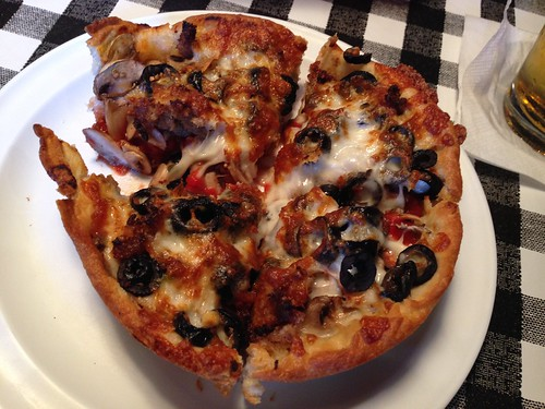 IMG_4129 Chicago style deep dish pizza, with black olives, mushrooms and sausage
