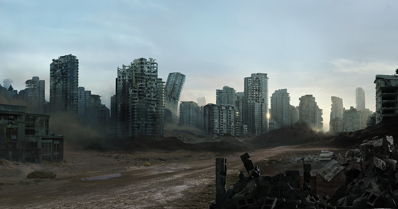 ruined cityscape matte painting