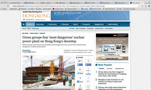 """Green groups fear 'most dangerous' nuclear power plant on Hong Kong's doorstep"" South China Morning Post"