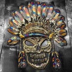 Indian Headdress Skull#browndogwelding #tattooedmetal #weldor #weldporn #skull #contrast #detroit