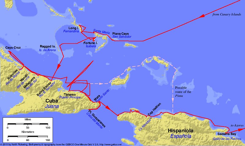Map of the first voyage of Christopher Columbus