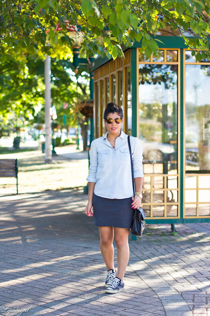 chambray shirt, striped mini skirt, converse-3.jpg
