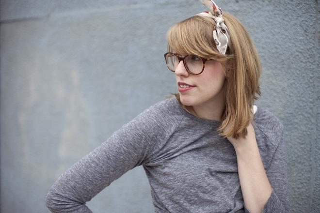 vintage headscarf and Bonlook frames