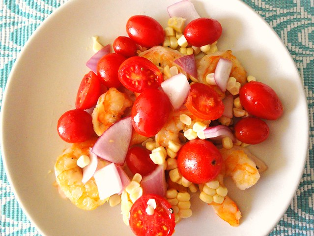 shrimp with tomato corn salad
