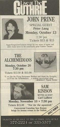 11/10/86 Sam Kinison/ Carl Labove @ The Guthrie, Minneapolis, MN