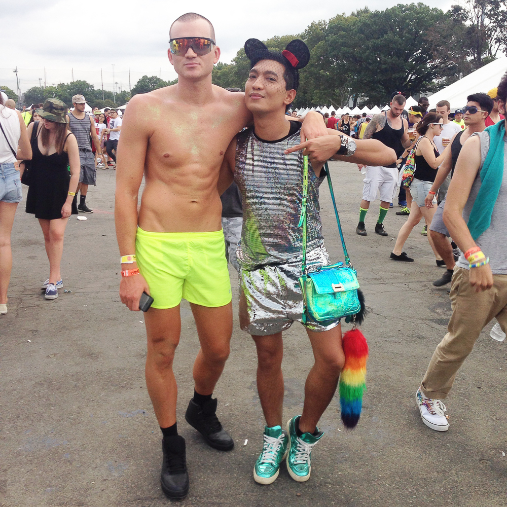 A guy in neon yellow shorts at Electric Zoo 2014 Music Festival Day 2
