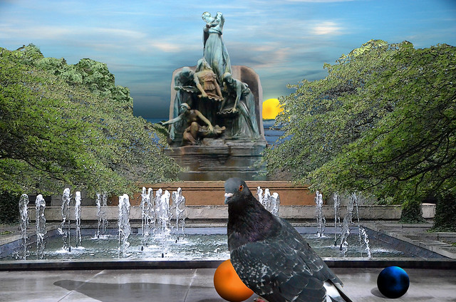 Pigeon and Seascape at the Art Institute of Chicago Courtyard, August 5, 2014 22-4 bp