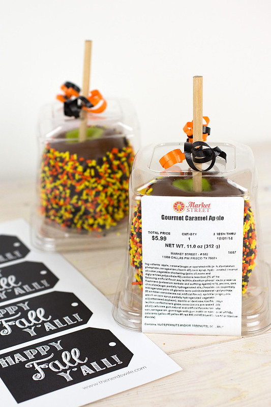 Caramel Apple Gift with Fall Printable Tags #MarketStreetTX