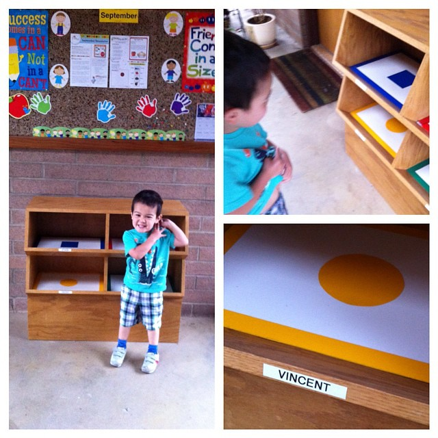 "Vincent's first day of ""pre-school"" at his daycare earlier this week. Every Tuesday & Thursday now. He got his very own cubby and made bookmarks for grandparents day."