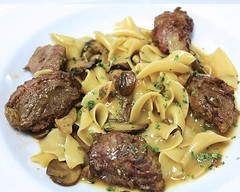 steak(0.0), veal(0.0), spaghetti(0.0), sirloin steak(0.0), salisbury steak(0.0), beef tenderloin(0.0), produce(0.0), meatball(0.0), shiitake(0.0), italian food(1.0), beef bourguignon(1.0), meat(1.0), food(1.0), dish(1.0), cuisine(1.0),