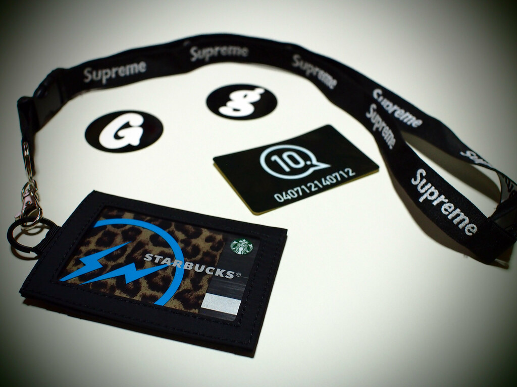 HEAD PORTER Card Case + Supreme Neck Strap | GOODENOUGH Sticker & 10.Sticker