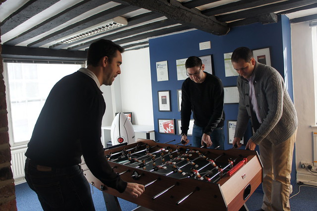The directors playing table football