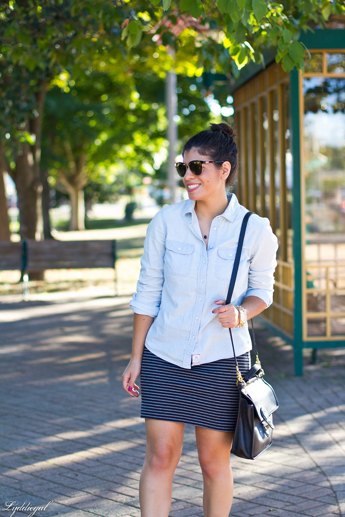 chambray shirt, striped mini skirt, converse-4.jpg