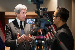 U.S. Secretary of State John Kerry participates in an interview with the Voice of America at the Royal Thai Embassy in Washington, D.C., where he visited to offer condolences on the death of His Majesty King Bhumibol Adulyadej, on October 21, 2016. [State Department photo/ Public Domain]