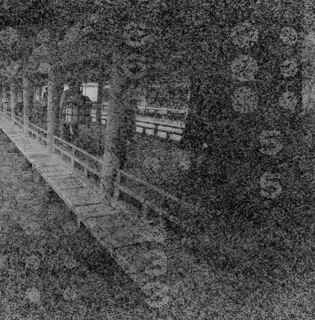 嚴島神社 Hiroshima, Japan / Lomography BW Expired / Lomo LC-A+ 120 過期底片會把底片卷上的字樣印上去,拍出來的影像有一種很像是用針孔攝影投影出來的感覺。  隱隱約約可以看到這是在廣島的嚴島神社拍的,那天是陰天,一直下雨下個不停,我背包裡的 MacBook Pro 還因此泡水當機!  Lomo LC-A 120 Lomography Black and White Negative 100 ISO 120mm 6678-0004 2016/09/25 Photo by Toomore