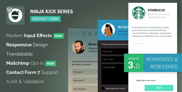 Ninja Kick: WordPress Contact Form V3.3.1 Plugin